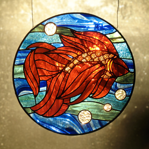 Carmen Martin Sculpture: Goldfish (stained glass)